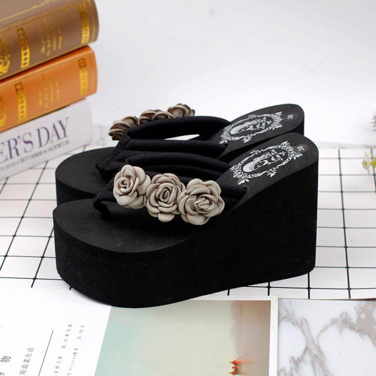 夏季韩版手工花朵拖鞋3朵三茶花11厘米恨天高沙滩度假凉拖鞋 女