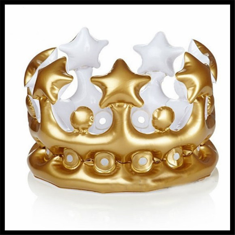 现货充气皇冠王冠帽子儿童头饰装扮玩具生日帽舞会派对皇冠道具
