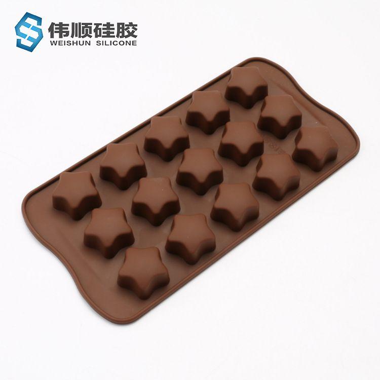 工厂直销批发食品级手工diy家用15连五角星星硅胶烘焙巧克力模具