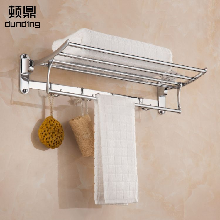 顿鼎8505不锈钢折叠浴巾架毛巾架浴室卫浴挂件置物架 一件代发