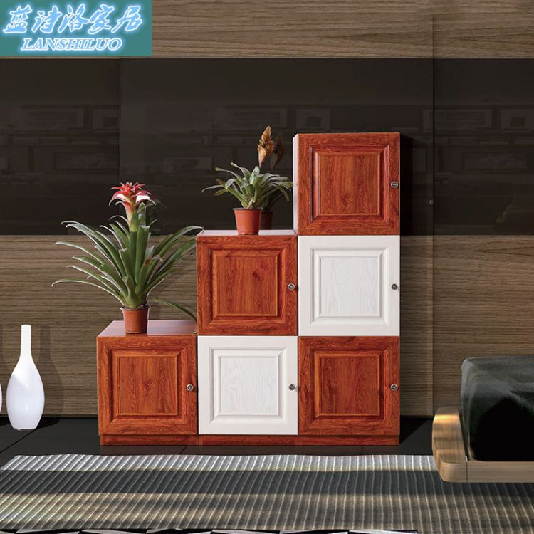 整体客厅家具组合 红木色鞋柜 复古中式家具办公收纳柜 批发
