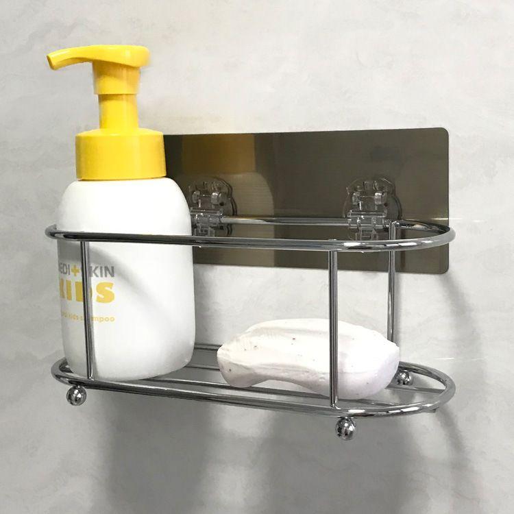 自粘式墙上置物架浴室墙面简易收纳架免钉无痕不锈钢厨房置物架