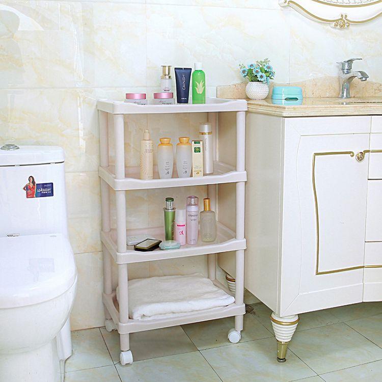 锦帛大号加厚塑料平板四层方形置物架 收纳架 厨房浴室储物架
