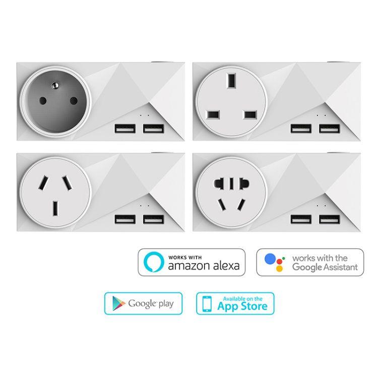 Tuya应用插座的wifi电源插头有两个USB接口支持谷歌助手和Alexa