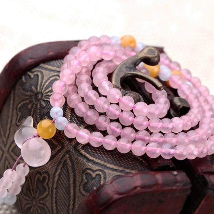 厂家批发 正品天然粉晶108颗佛珠平安水晶葫芦手链 招桃花促姻缘