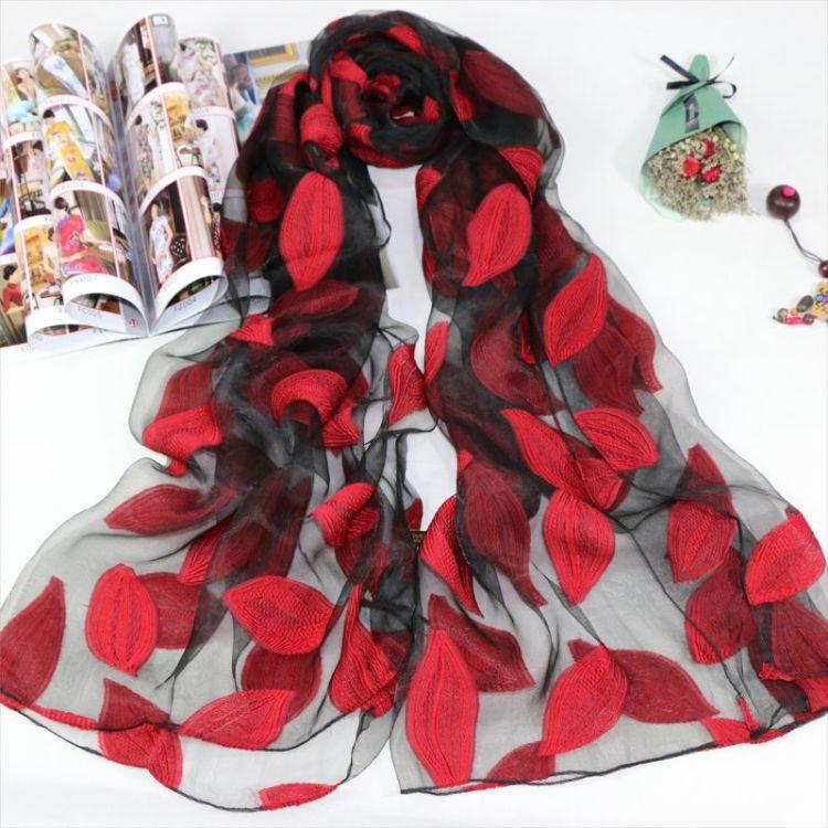 2018新款韓版歐根紗絲巾樹葉子圍巾女士刺繡紗巾披肩潮春款絲巾