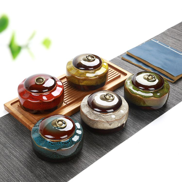 中号窑变扁形茶叶罐金属拉环陶瓷密封存储容器胶布封口防潮瓷器