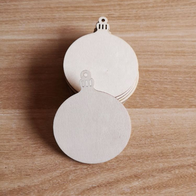 木片diy木质工艺礼品创意圣诞树球头装饰挂件激光雕刻吊件派对用