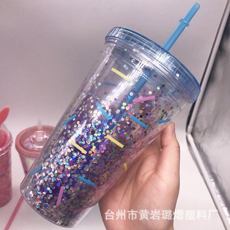 外贸出口双层金粉塑料吸管杯  冰杯夹层闪粉亮片金葱粉定制广告杯