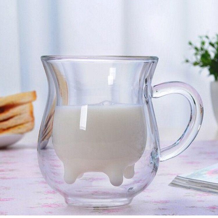 高硼硅双层精品玻璃奶牛杯玻璃竹盖杯牛奶杯果汁杯水杯