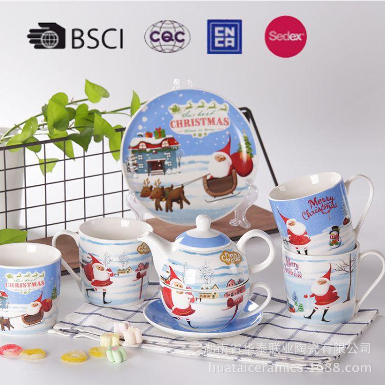 陶瓷器具杯碗碟高档陶瓷礼品定制居家餐具圣诞系列创意设计茶杯壶