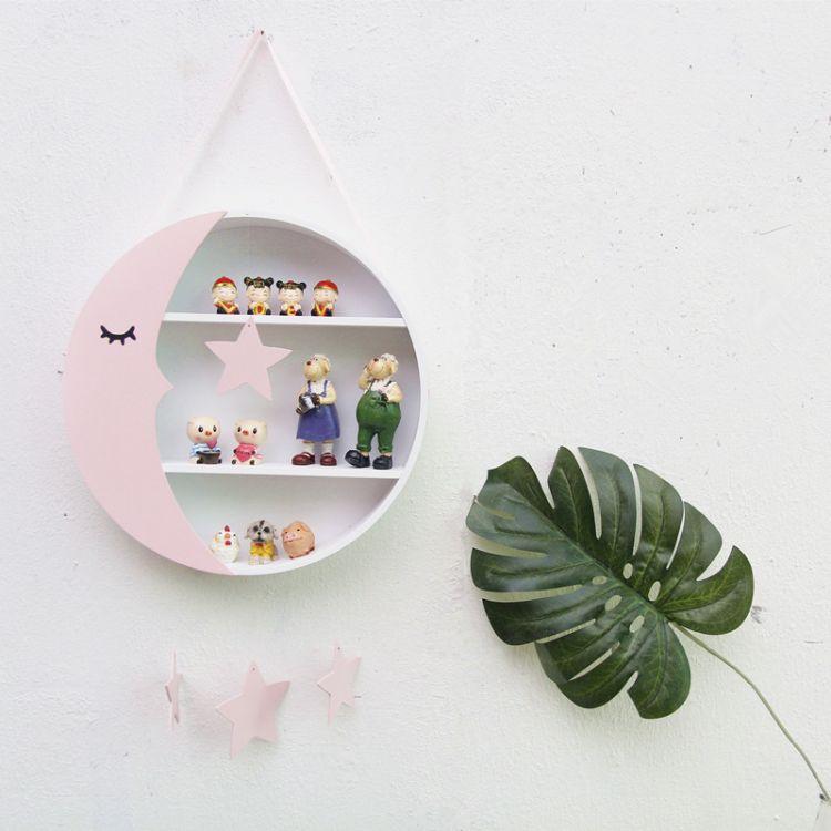 ins北欧月亮造型置物架儿童房收纳搁物架拍摄道具墙饰挂件
