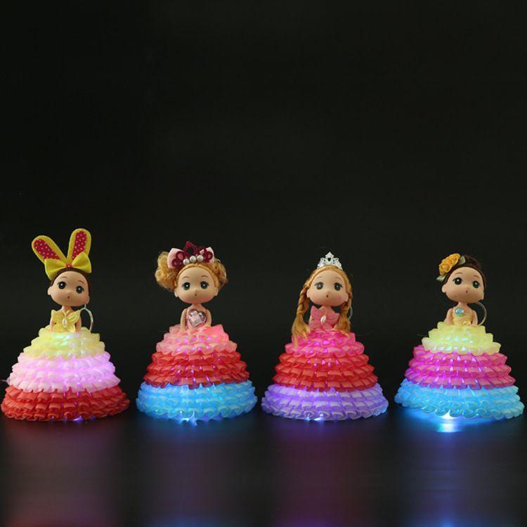 发光娃娃婚纱娃娃女生巴比娃娃钥匙扣包包挂件美少女公仔迷糊娃娃
