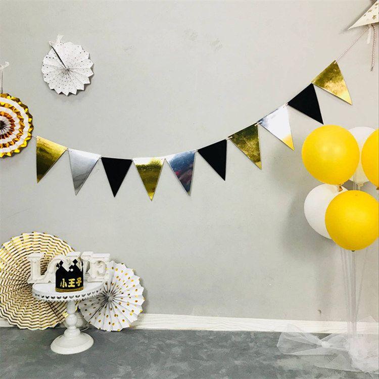 黑金彩旗 成人儿童生日派对用品新年年会轰趴场地布置三角旗横幅