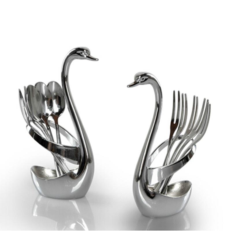 臻莹 304不锈钢水果叉子创意水果签肉叉咖啡勺天鹅水果叉