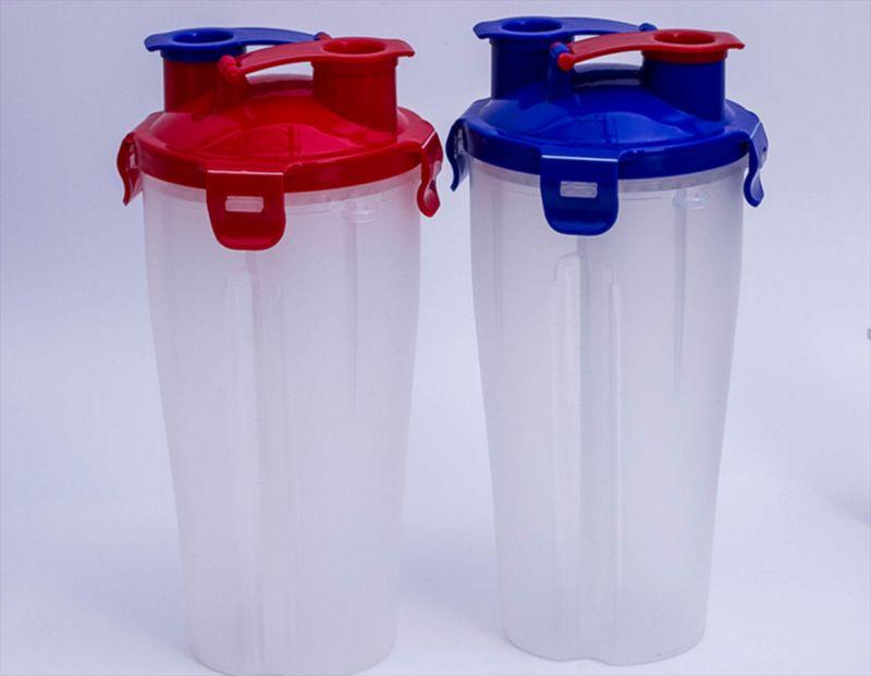 厂家直销新款双头摇摇杯蛋白粉杯汽车杯dual 双盖摇摇杯