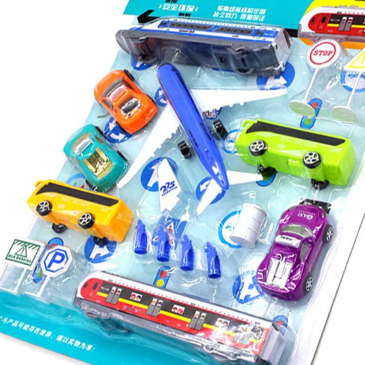 儿童回力车玩具  回力现代交通工具模型套装  益智场景模拟现场