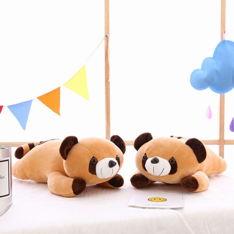新款及软羽绒棉小浣熊毛绒玩具 软体熊公仔抱枕玩偶批发一件代发