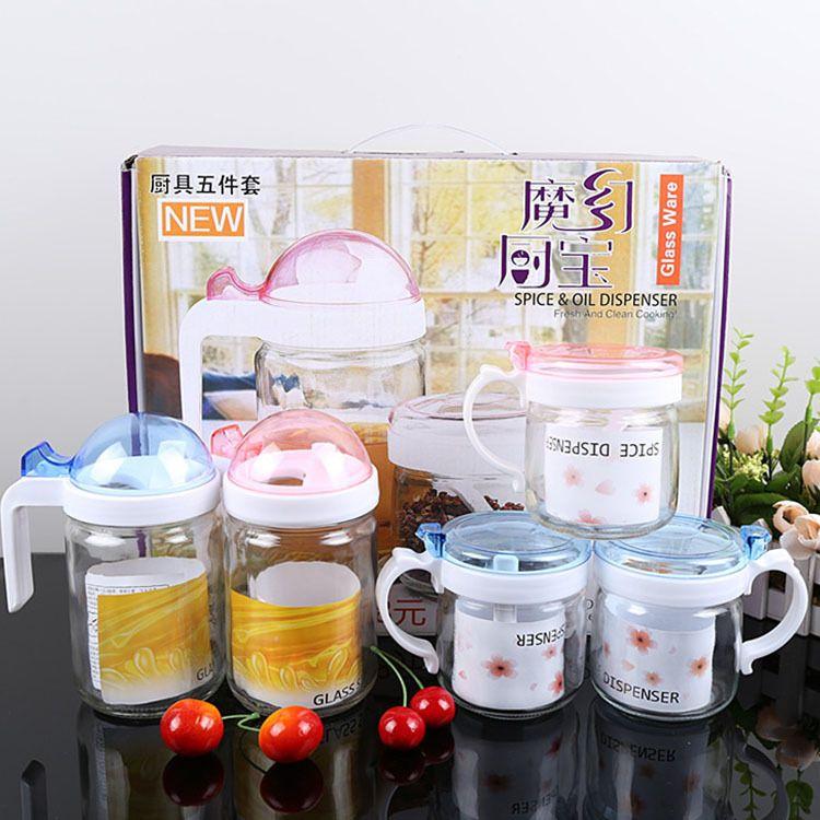 厂家批发厨房用品 玻璃油壶调味罐五件套 调味瓶调料盒控油壶套装