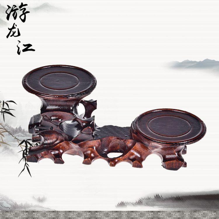 木质工艺品 马拉斯圆高低底座 花瓶奇石茶壶木雕摆件 木工艺品