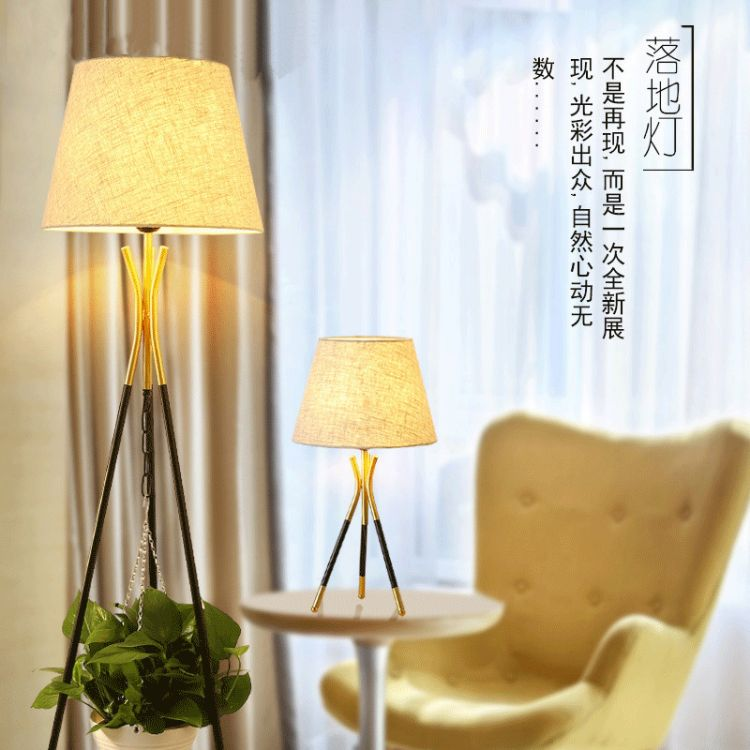 美式铁艺落地灯卧室温馨书房简约现代创意遥控三角架立式落地台灯