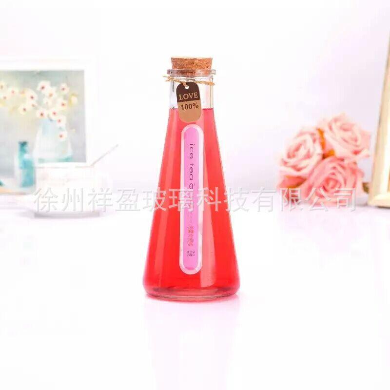 厂家直销 冷泡茶玻璃瓶饮料瓶奶茶冰桔瓶漂流瓶含盖木塞玻璃瓶
