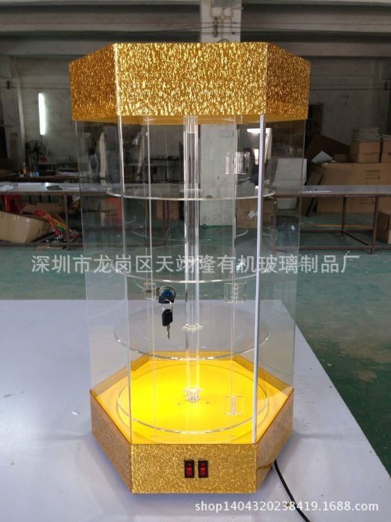 亚克力旋转展示柜有机玻璃精品展示柜有机玻璃旋转货架柜子定做