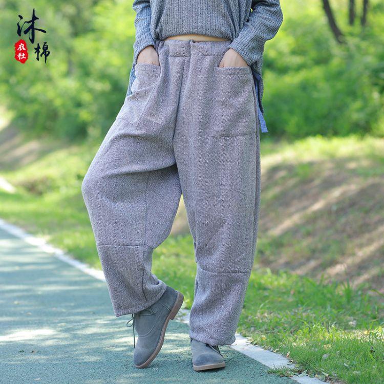 原创复古中国风水洗绉布休闲亚麻阔腿裤 女装裤子长裤直筒裤秋款