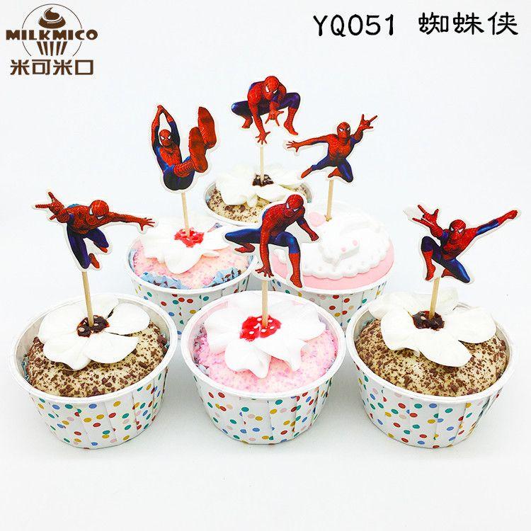 蛋糕装饰 蛋糕插签蜘蛛侠插签牙签 签烘焙装饰 蛋糕插牌 烘焙用品