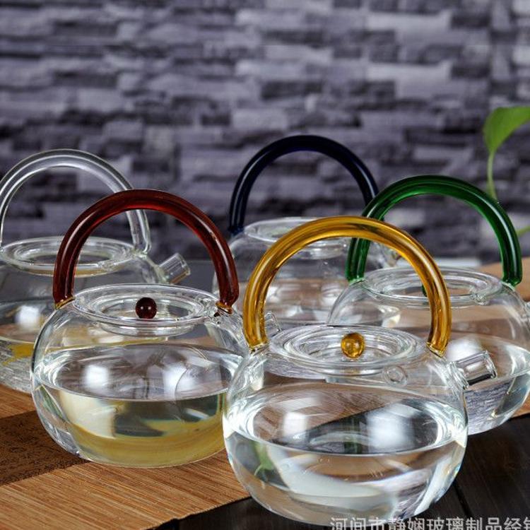 加厚玻璃提梁壶茶壶大容量耐高温圆形电陶炉煮水玻璃茶壶
