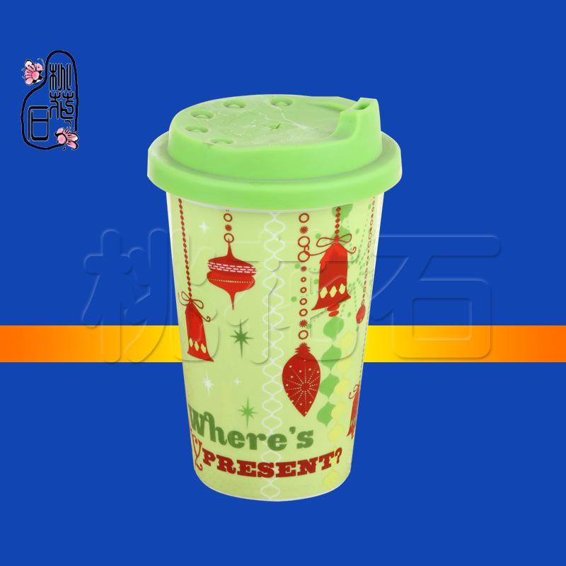 马克杯子咖啡变色纯白环保紫色带盖定制ins早餐牛奶瓷器双层卡通