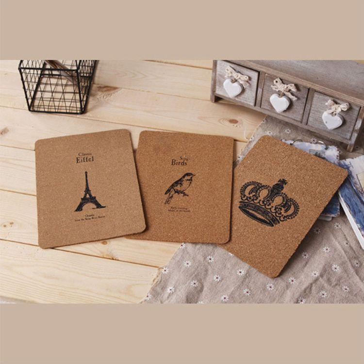 旧木良品 日单zakka杂货定做图案软木鼠标垫 创意礼品木质工艺品