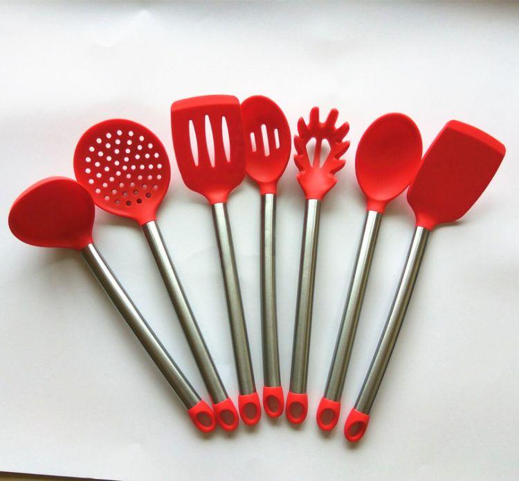新款不锈钢管柄厨具 7件套硅胶厨具 厂家直销