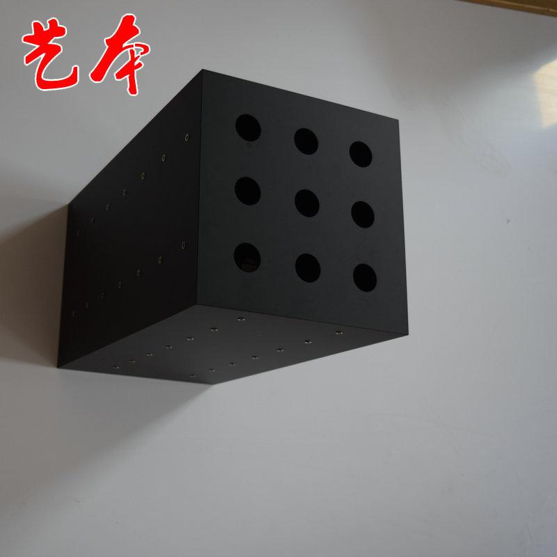 厂家生产黑色孔洞亚克力展示台 亚克力四方旋转展示箱
