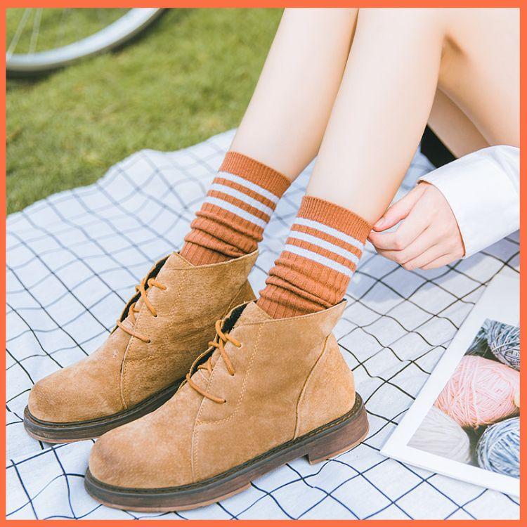 200针织女袜子 日系两条杠双针中筒袜子全棉加厚吸汗女袜厂家直销