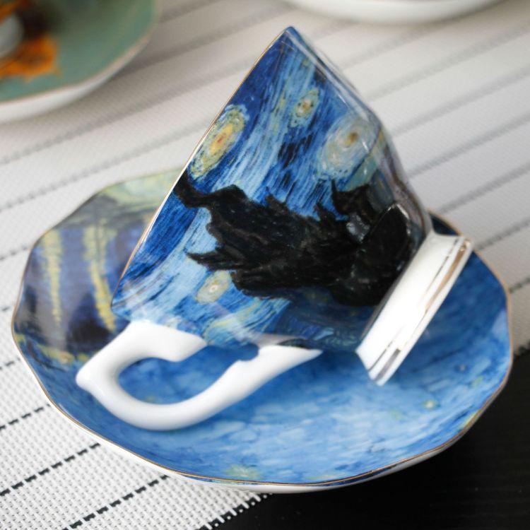 油画系列骨瓷咖啡杯碟 厂家直销礼品陶瓷杯定制下午茶茶杯
