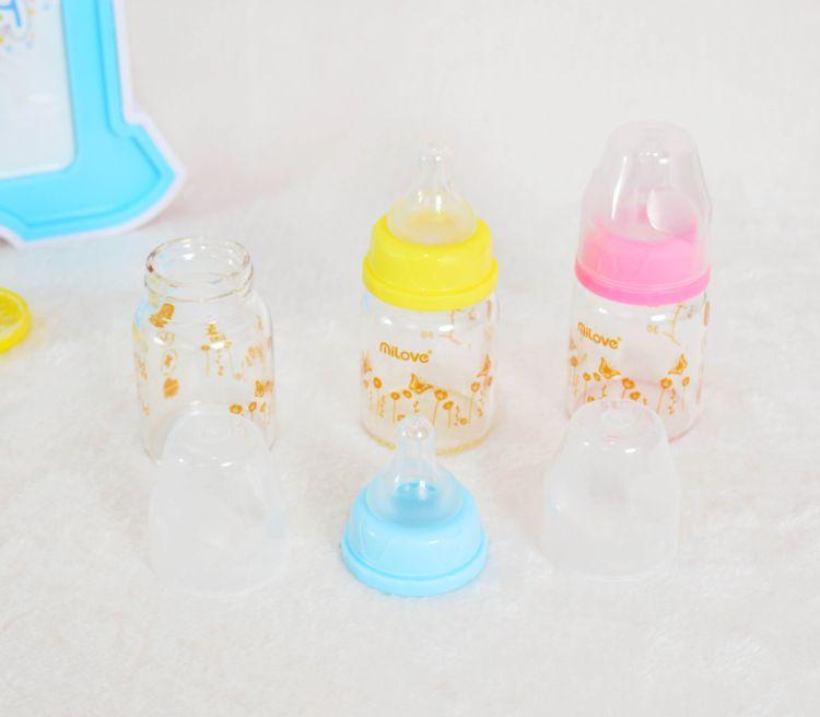 米爱 婴儿奶瓶60ML标口经新生儿晶钻玻璃奶瓶 宝宝果汁奶瓶代发