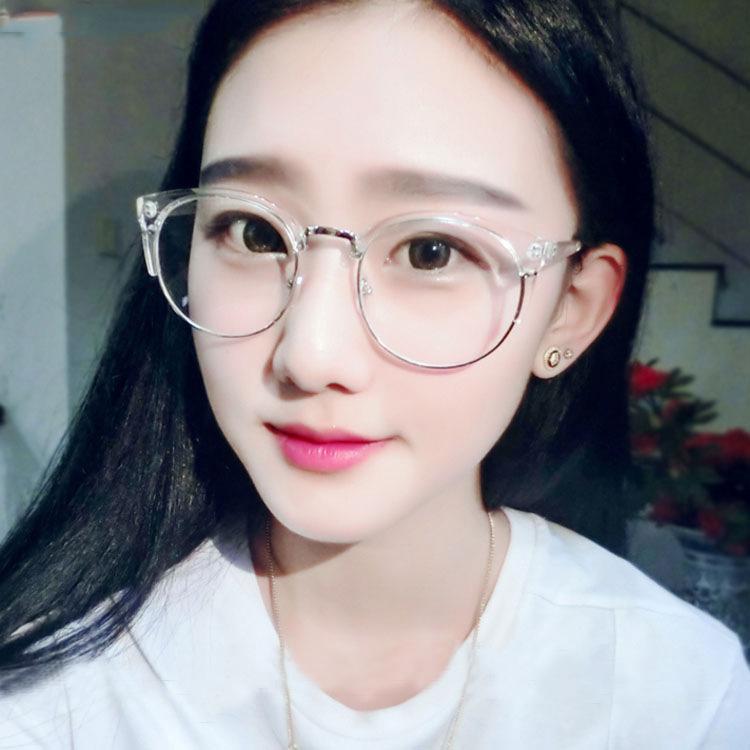 复古眼镜框女 金属半框平光镜大框圆形个性眼镜架男近视镜架
