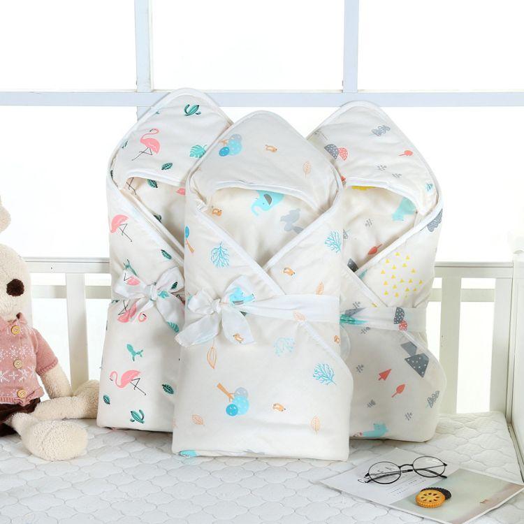 加棉抱被纯棉A类卡通印花柔软舒适宝宝抱被婴幼儿盖毯带腰帽代发