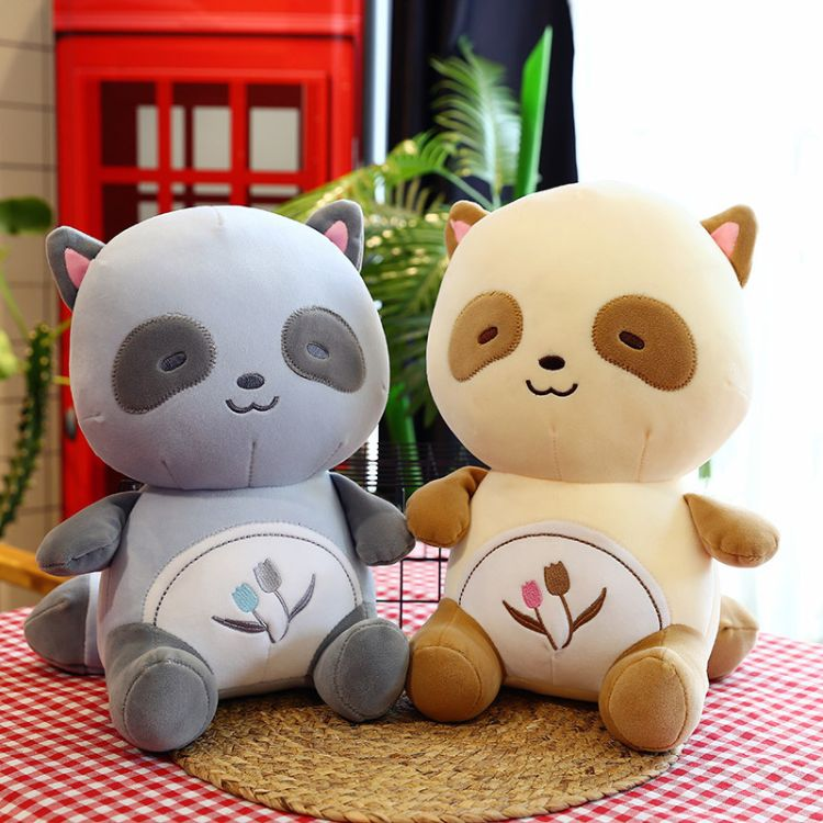 新款小浣熊毛绒玩具公仔可爱坐版羽绒棉浣熊女生小孩礼物批发