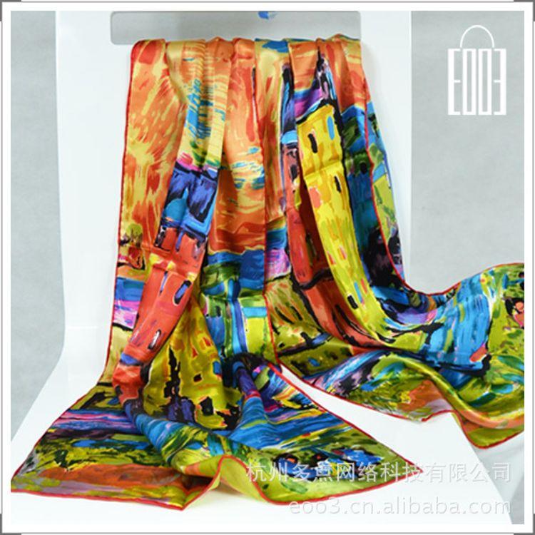 SILK厂家生产定制批发百变丝巾素绉缎油画长丝巾外贸真丝丝巾围巾