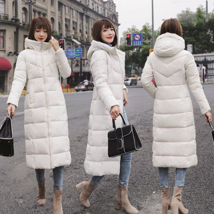 M到6xL 200斤棉衣女中长款2018新款连帽过膝加厚大码羽绒棉服外套