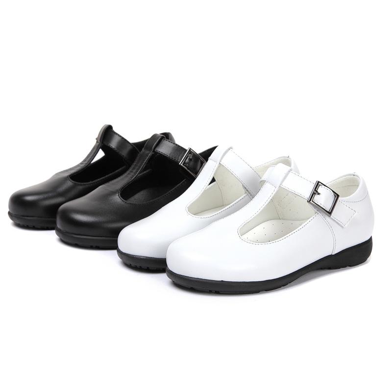 女童皮鞋2018年春秋新品童鞋中童大童真皮公主鞋白色小女孩学生鞋