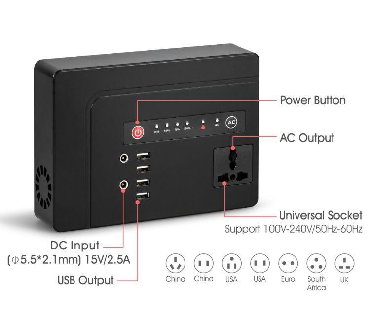 逆变移动电源 笔记本移动电源AC逆变高容量移动电源4口USB充电宝