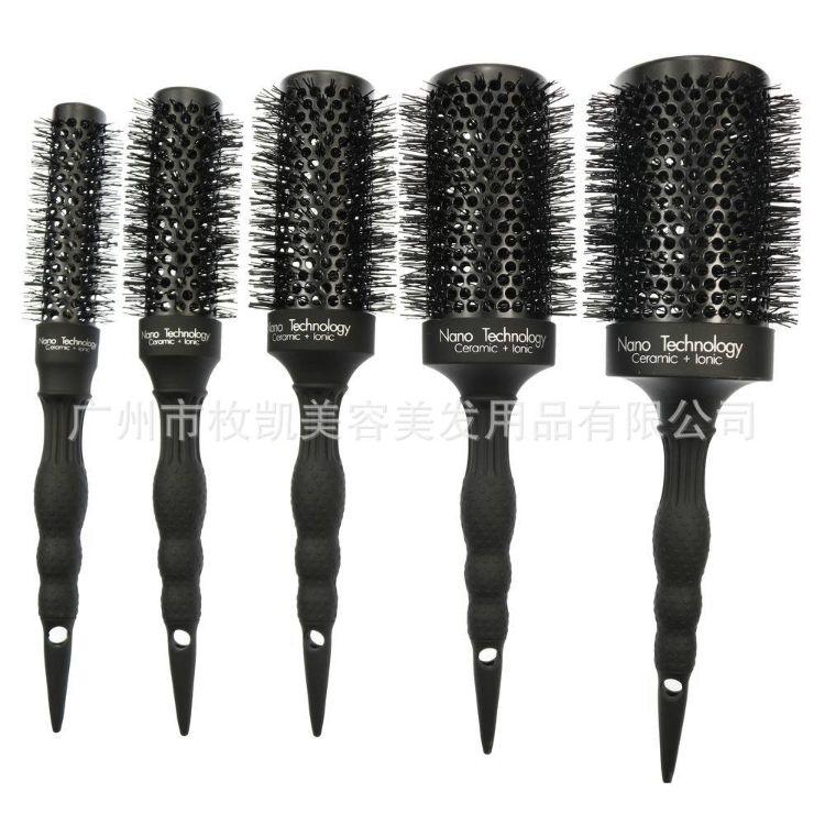 新款耐高温造型铝管梳陶瓷圆滚梳卷发梳发型师造型套装梳厂家定做