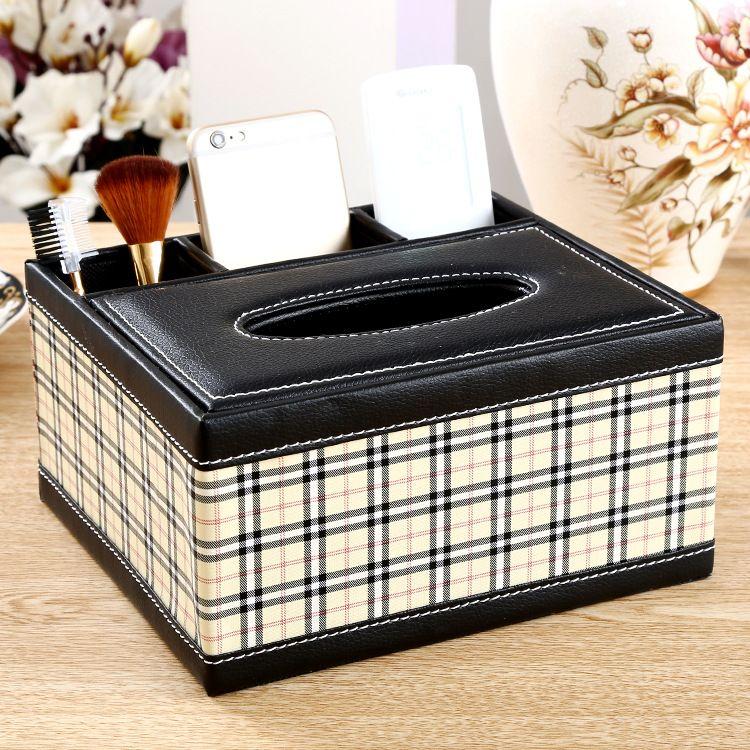 定制纸巾盒PU多功能抽纸盒遥控器收纳盒 皮质皮革储物盒