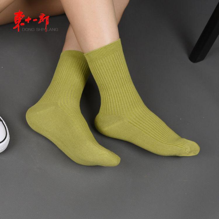秋冬新款双针袜子女士全棉中筒商务袜 手工对目高档双针女袜批发