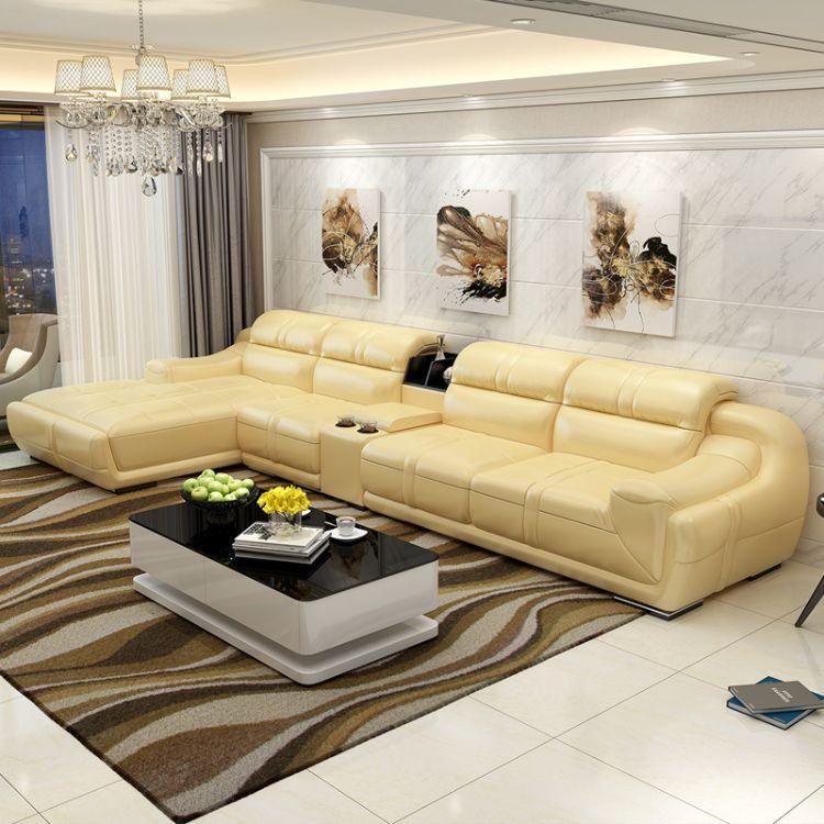 现代皮沙发大小户型客厅家具转角皮艺沙发组合