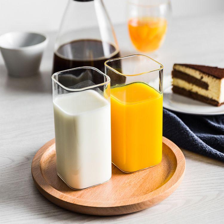 耐热玻璃杯透明茶杯家用水杯早餐杯果汁牛奶杯四方杯高硼硅玻璃杯