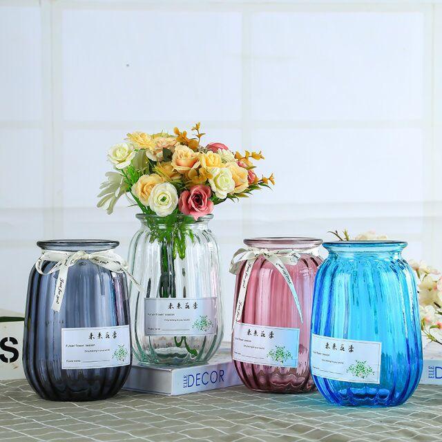 批发透明玻璃花瓶 装饰家居摆件 欧式彩色玻璃花瓶 创意插花瓶